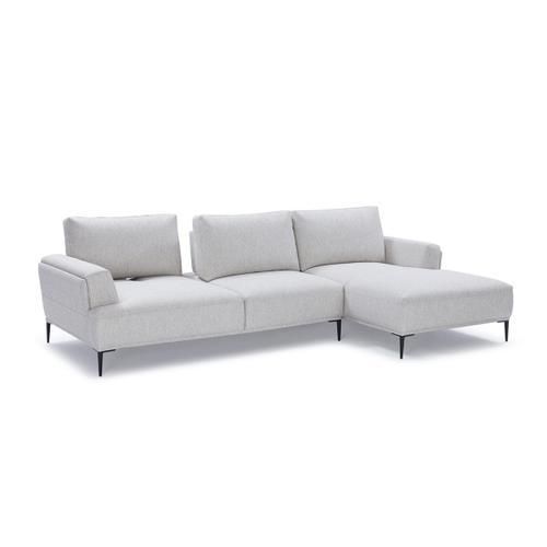 Divani Casa Hero Modern Grey Fabric Sectional Sofa w/ Right Facing Chaise