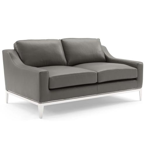 Harness Stainless Steel Base Leather Sofa and Loveseat Set in Gray