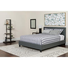 Chelsea Queen Size Upholstered Platform Bed in Dark Gray Fabric with Memory Foam Mattress
