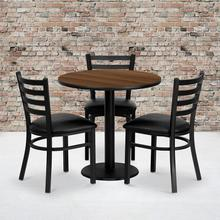 Product Image - 30'' Round Walnut Laminate Table Set with 3 Ladder Back Metal Chairs - Black Vinyl Seat