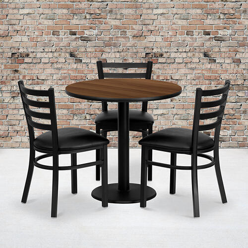 Flash Furniture - 30'' Round Walnut Laminate Table Set with 3 Ladder Back Metal Chairs - Black Vinyl Seat