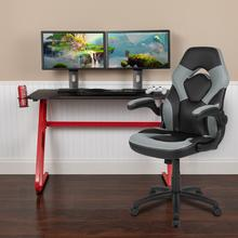 Red Gaming Desk and Gray\/Black Racing Chair Set with Cup Holder and Headphone Hook