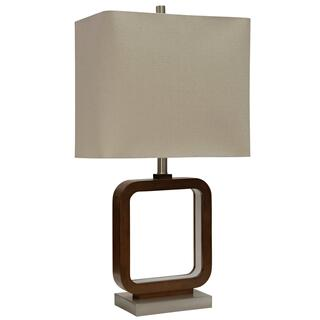 Well Wood  Contemporary Portal Table Lamp with LED Lighting under Opaque Acrylic in the Inner ring
