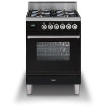 Professional Plus 24 Inch Gas Natural Gas Freestanding Range in Glossy Black with Chrome Trim