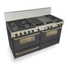 """60"""" Dual Fuel, Convect, Self Clean, Sealed Burners, Black with Brass"""