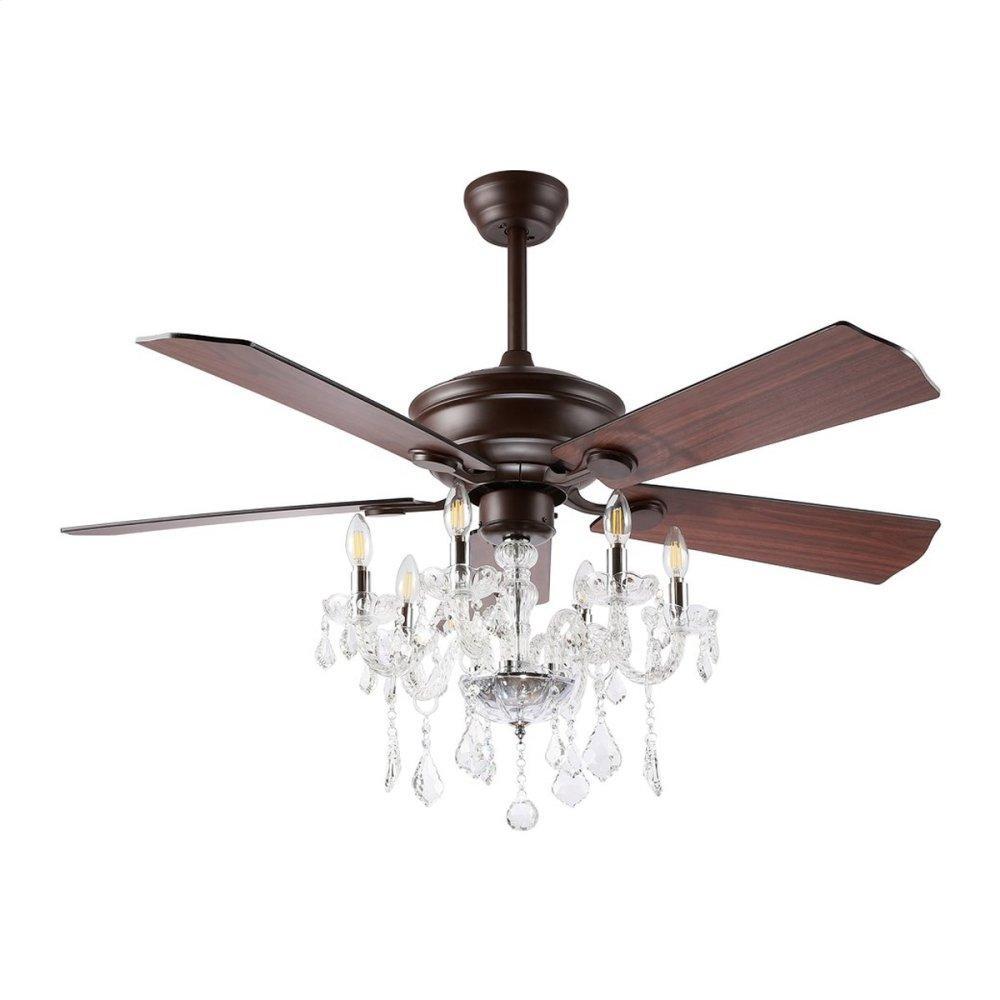 Garla Ceiling Light Fan - Dark Walnut With Black / Dark Walnut