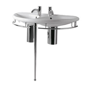 Isabella Collection semi-circular double basin china console with chrome overflow, polished chrome towel rails and leg support. Product Image