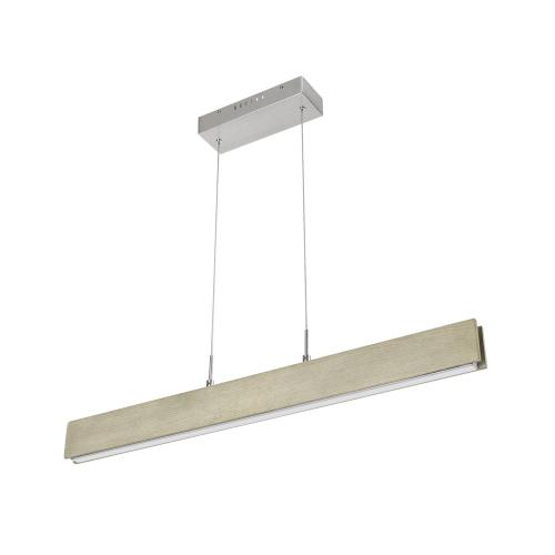 Colmar dimmable integrated LED Rubber wood ceiling island light with adjustable steel braided cable.18W, 1400 lumen, 3000K