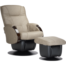 The Monaco glider is part of the AvantGlide collection and features curved wooden armrests.