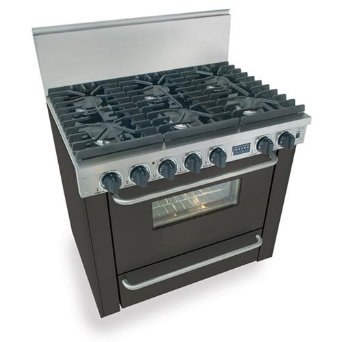 "36"" Six Burner All Gas Range, Sealed Burners, Black"