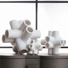 Cube Tube Sculpture-Matte White-Med