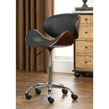 Soglio Modern Faux Leather and Wood Height Adjustable Swivel Office Chair, Black