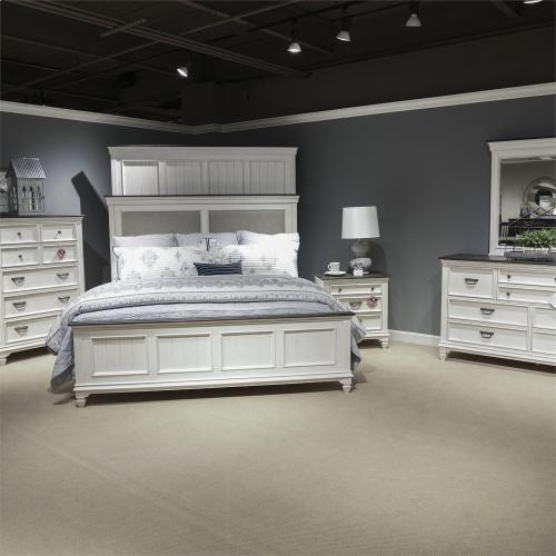 Liberty Furniture Industries - King California Upholstered Bed, Dresser & Mirror, Chest
