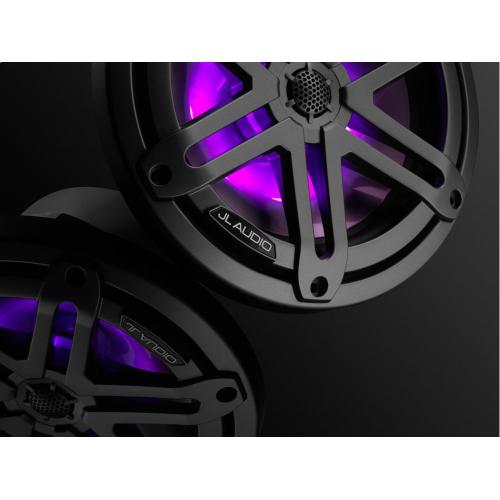 JL Audio - 7.7-inch (196 mm) Marine Coaxial Speakers, Gunmetal Sport Grilles with RGB LED Lighting