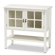 See Details - Baxton Studio Chauncey Classic and Traditional White Finished Wood and Glass 2-Door Kitchen Storage Cabinet