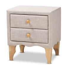 See Details - Baxton Studio Artis Modern and Contemporary Beige Fabric Upholstered 2-Drawer Wood Nightstand