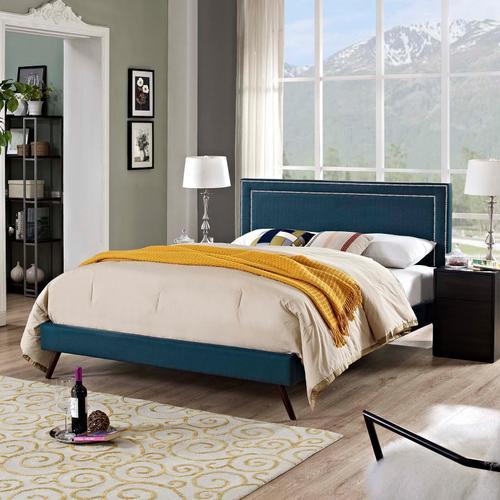 Modway - Virginia Queen Fabric Platform Bed with Round Splayed Legs in Azure