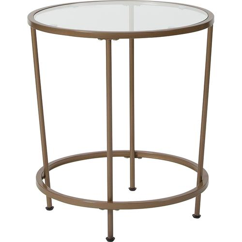 Flash Furniture - Astoria Collection Glass End Table with Matte Gold Frame