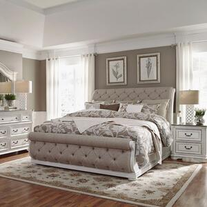 Liberty Furniture Industries - King California Upholstered Sleigh Bed, Dresser & Mirror, Night Stand
