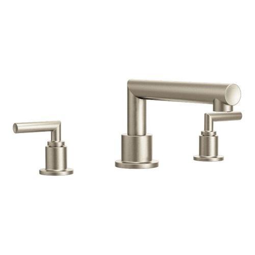 Arris brushed nickel two-handle roman tub faucet