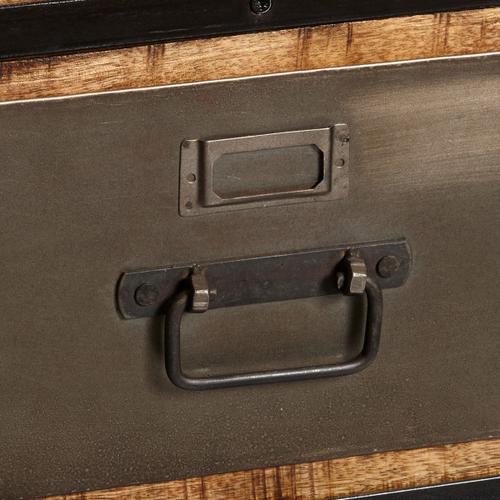 Industrial Metal & Wood Side Table