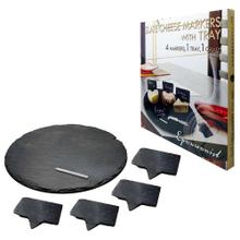Slate Cheese Markers with Tray