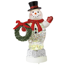 Lighted LED Snowman w/Wreath Mini Shimmer