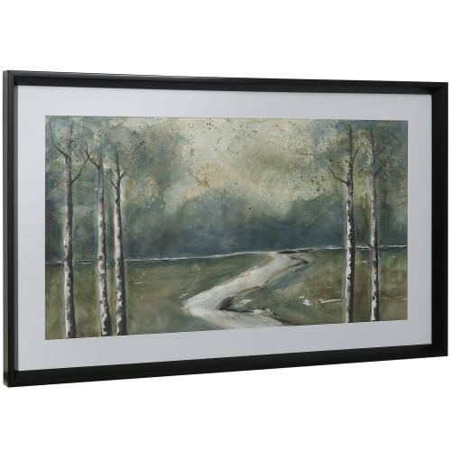 Style Craft - TIPSY TRAIL  16in w X 41in ht  Framed Print Under Glass with Matte
