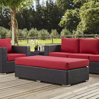 Convene Outdoor Patio Fabric Rectangle Ottoman in Espresso Red