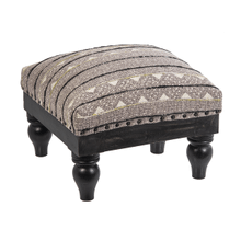 Black & White Block Print with Embroidered Stripe Stool