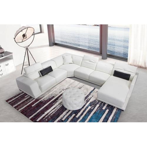 Divani Casa Hanson Modern White Eco-Leather Sectional Sofa