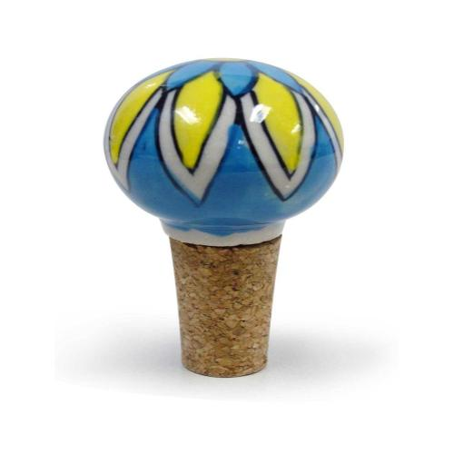 Epicureanist Blue and Yellow Floral Ceramic Bottle Stopper