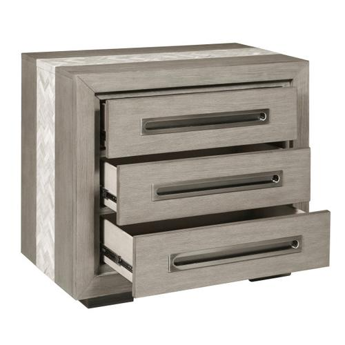 Modern 3 Drawer Nightstand with Marble Inlay in Natural Taupe
