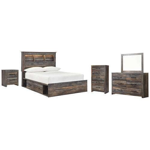 Product Image - Full Bookcase Bed With 2 Storage Drawers With Mirrored Dresser, Chest and Nightstand