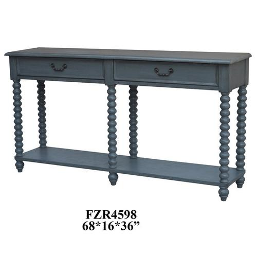 Crestview Collections - Morrisey Turned Leg Slate Grey 2 Drawer Console