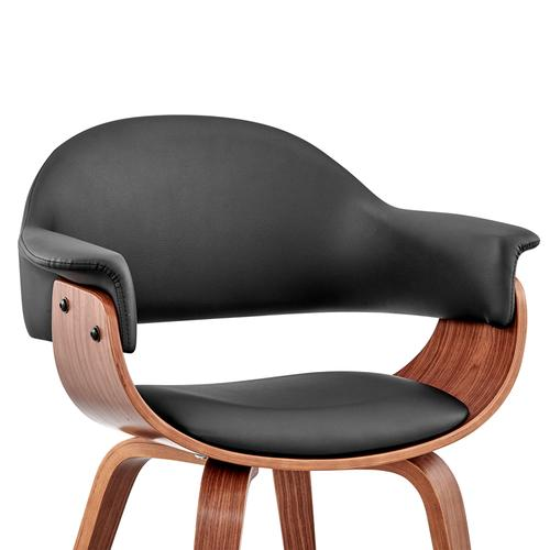 Armen Living - Adalyn Black Faux Leather and Walnut Wood Dining Room Accent Chair