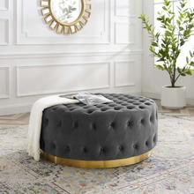 Ensconce Tufted Performance Velvet Round Ottoman in Gray