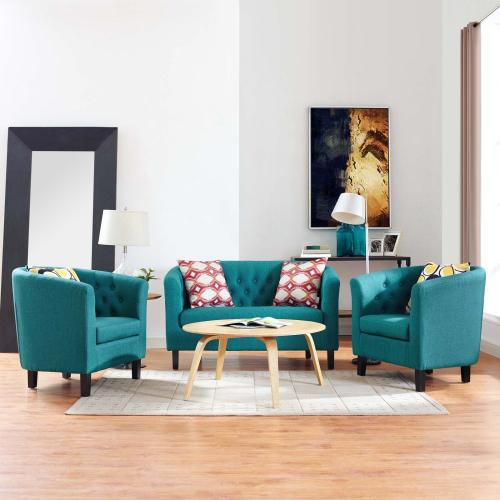 Prospect 3 Piece Upholstered Fabric Loveseat and Armchair Set in Teal