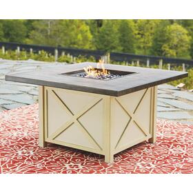 Preston Bay Square Fire Pit Table Antique White