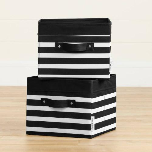 Canvas Baskets, 2-Pack - Black and White Stripes