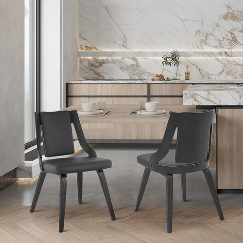 Armen Living - Aniston Gray Faux Leather and Black Wood Dining Chairs - Set of 2