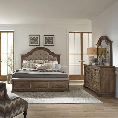 Opt Queen Storage Bed, Dresser & Mirror