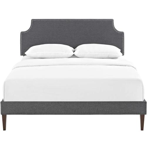 Corene Full Fabric Platform Bed with Squared Tapered Legs in Gray
