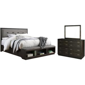 California King Upholstered Panel Bed With Storage With Mirrored Dresser