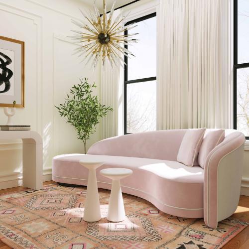 Tov Furniture - Carla Blush and Cream Velvet Sofa