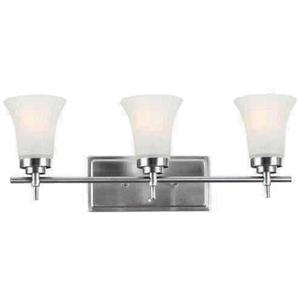 3-lite Wall Sconce, Ss W/frost Glass Shade, E27 Type A 60wx3