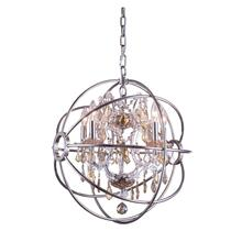 Geneva 5 light Polished nickel Pendant Golden Teak (Smoky) Royal Cut crystal