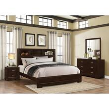 Montana 4-PC Walnut Modern Wood Bedroom Set King and Queen Bed Dresser&Mirror Nightstand, King