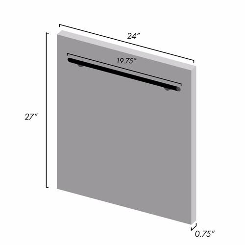 "24"" Dishwasher Panel in Black Matte with Modern Handle (DP-BLM-H-24)"