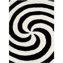 See Details - 3D-804 WHITE & BLACK (SALT & PEPPER) Spiral Shaggy Rug